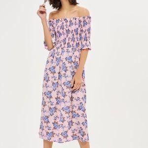 Topshop Shirred Floral Bardot Midi Dress